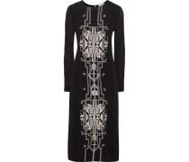 Embroidered Crepe Dress Schwarz