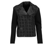Deena Leather-trimmed Bouclé And Scuba Biker Jacket Schwarz