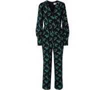 Wrap-effect Floral-print Silk Crepe De Chine Jumpsuit