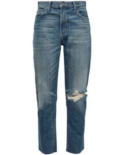 The Vintage Cropped Distressed High-rise Slim-leg Jeans Mid Denim  3