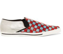 Delancey metallic leather and sequinned canvas point-toe slip-on sneakers