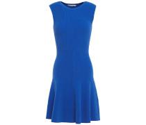 Flared Ribbed-knit Mini Dress