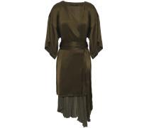 Asymmetric Pleated Satin And Crepe Wrap Dress