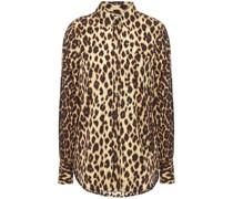 Hemd aus Crêpe De Chine aus Einer Seidenmischung mit Leopardenprint