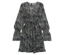 Manning Belted Printed Metallic Georgette Mini Dress