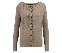 Oasis Metallic Printed Wool-blend Cardigan Champignon