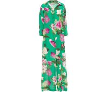Floral-print Silk Crepe De Chine Maxi Shirt Dress