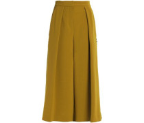 Rick rack-trimmed pleated crepe culottes