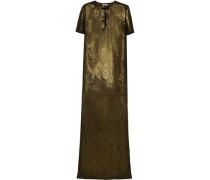 Embellished metallic silk gown
