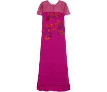 Paneled Embroidered Silk-crepe Gown Magenta