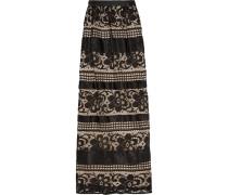 Ruffled Silk-paneled Lace Maxi Skirt Schwarz