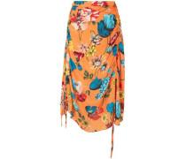 Ruched Floral-print Crepe De Chine Midi Skirt Orange