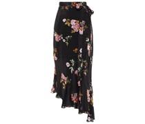 Kalifa Asymmetric Floral-print Crepe De Chine Midi Wrap Skirt