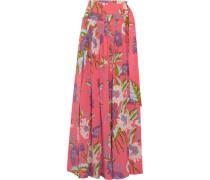 Floral-print silk crepe de chine wrap maxi skirt