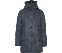 Kelly Coated-cotton Hooded Coat Rauchblau