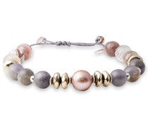 Sterling Silver, Stone And Pearl Bracelet