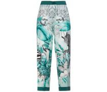 Ceo Printed Silk Satin-twill Straight-leg Pants
