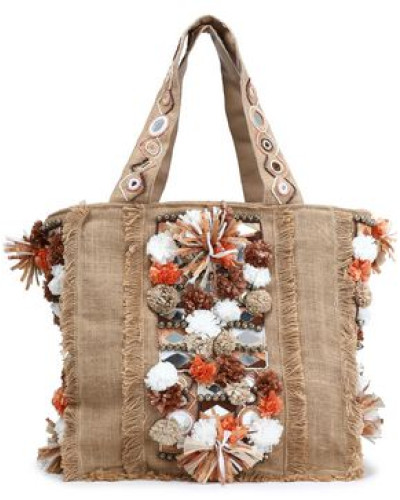 Embellished Woven Jute Tote Sand Size --