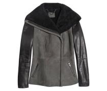 Makarine Shearling And Leather Jacket Anthrazit
