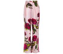 Woman Carite Floral-print Satin Straight-leg Pants Baby Pink