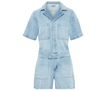 Woman Hannah Frayed Denim Playsuit Light Denim