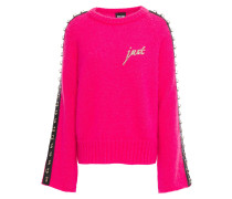 Woman Embellished Embroidered Neon Mohair-blend Sweater Bright Pink