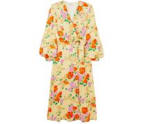 Floral-jacquard Midi Wrap Dress