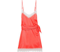 Crochet-trimmed Tie-front Silk-charmeuse Mini Slip Dress