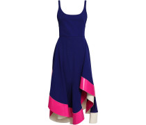 Asymmetric Satin-trimmed Jersey Midi Dress