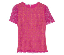 Paneled Crocheted Cotton And Cady Top Knallpink
