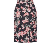 Floral-print Twill Skirt Schwarz