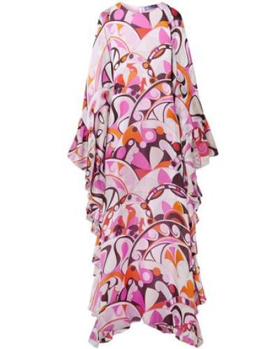 Ruffled Printed Silk-georgette Maxi Dress Pink