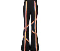Striped Twill Bootcut Pants Schwarz