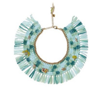 Gold-tone, raffia and quartz necklace