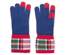 Percy Intarsia-knit Merino Wool Gloves Blau