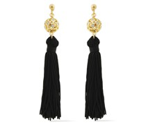 22-karat Gold-plated Crystal And Tassel Earrings