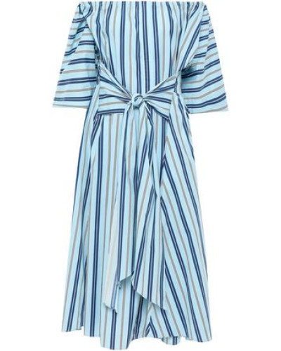 Off-the-shoulder Striped Stretch-cotton Midi Dress Sky Blue