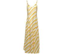 Ava Pleated Striped Satin-twill Maxi Dress