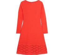 Laser-cut stretch-knit mini dress