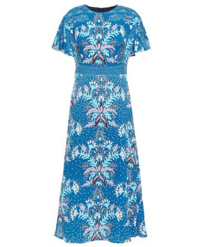 Woman Floral-print Cloqué Midi Dress Blue