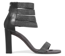 Bead-embellished Leather Sandals Schiefer