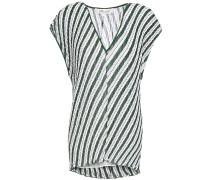 Striped Plissé-crepe Top