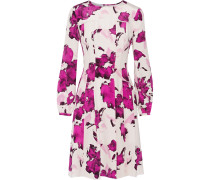 Pleated Floral-print Silk Dress Magenta