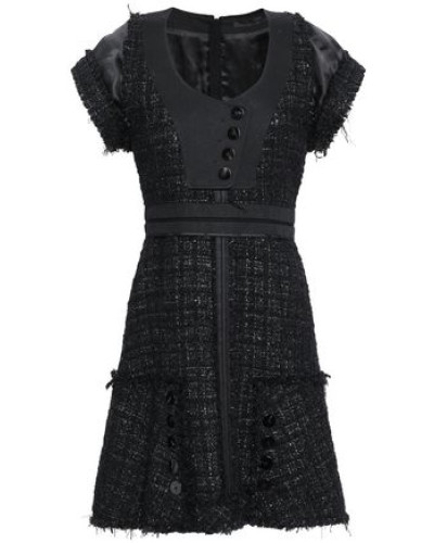 Satin And Twill-trimmed Metallic Tweed Mini Dress Black