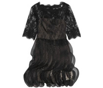 Silk-georgette and mesh-trimmed lace mini dress