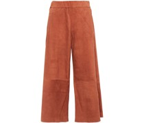 Cropped Suede Wide-leg Pants