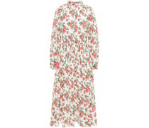 Mai Gathered Floral-print Cotton-poplin Midi Dress