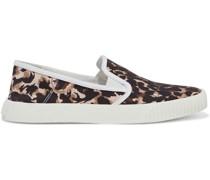 Panelle Slip-ons aus Canvas mit Leopardenprint