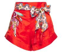 Shorts aus Glänzendem Seiden-jacquard mit Stickereien