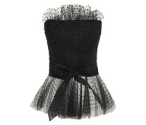 Crystal-embellished Swiss Dot Tulle Bustier Top